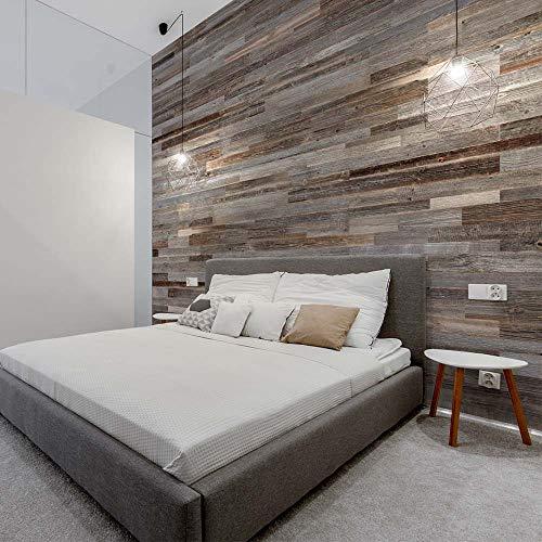 Wooden Wall Wandverkleidung aus Holz, Anthrazit | 18 Platten aus Holz innen: 1 m² | Wandverkleidung aus Holz, Antik-Optik | Wooden Wall