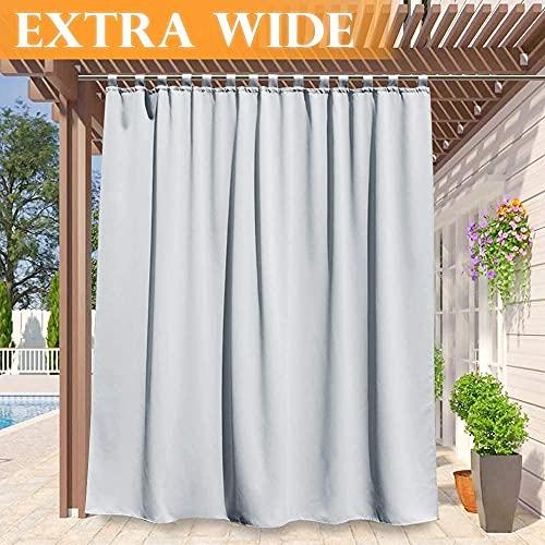 RYB HOME White Outdoor Curtains - Waterproof Drapery Summer Heat Blocker Window Curtain Panel for Gazebo/Backyard/Sunroom/Backdrop, Width 100 x Length 84 Inch, Grayish White