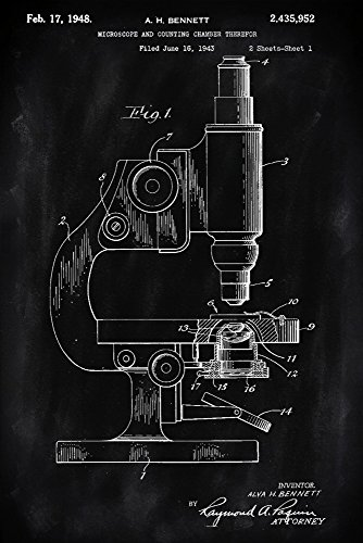 Blackboard Patent - Microscope (9x12 Art Print, Wall Decor Travel Poster)