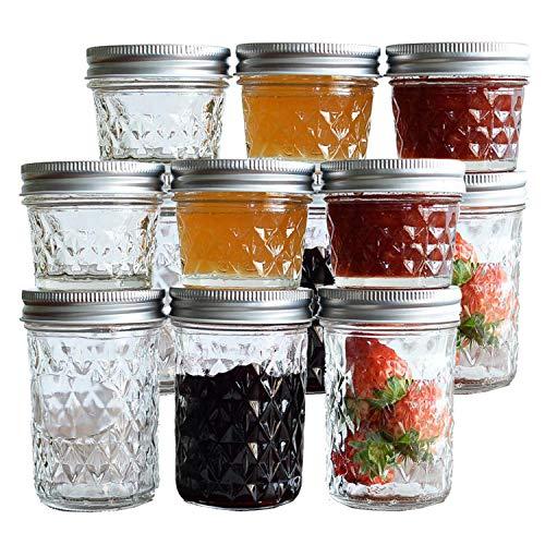 Tebery - Juego de 12 tarros para albañilería con tapas regulares para mermelada, miel, regalos de boda, regalos, regalos de ducha, alimentos para bebés