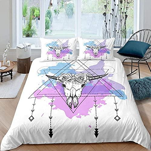 Bettwäsche 200x200 Antilopen-Schädel Bettbezug mit Reißverschluss Schließung Weiche Angenehme Mikrofaser Bettwäsche Set + 2 Kopfkissenbezug 80x80 cm