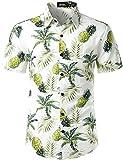 JOGAL Men's Flower Casual Button Down Short Sleeve Hawaiian Shirt White Green X-Large