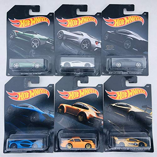Hot Wheels 2019 Walmart Exclusive Exotics - '14 Corvette Stingray, '17 Ford GT, Bentley Continental Supersports, McLaren P1, Porsche 934 Turbo RSR, Lamborghini Huracan LP 620-2 Super Trofeo - Set of 8