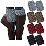 Loritta 4 Pairs Womens Boot Socks Winter Warm Crochet Knitted Boot Cuffs Topper Socks Short Leg Warmers Gifts,Style 02