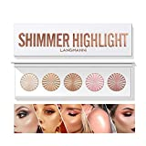 HIROCK 5 Colors Makeup Palette, Highlighter and Contour Palette, Compact Highlighting Shimmering Bronzer Powder, Pearlescent Formula Highlighter Palette