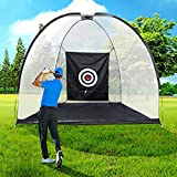 Golf Hitting Net Driving Range Golf Practice Nets for Backyard Indoor Use with Target Carry Bag (Upgraded Version)