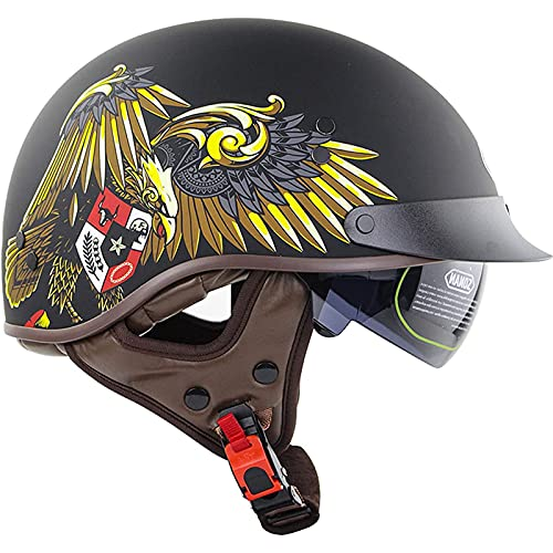 Helmets Casco Moto Jet,con Visera Solar ECE Homologado Casco Moto Casco de Motocicleta Vintage para Hombres Mujeres Verano Retro Casco Moto Abierto C,L57~58CM