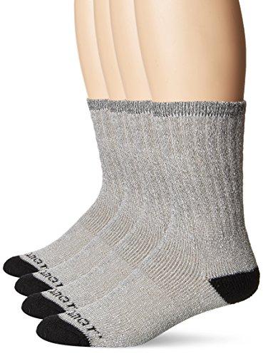 Terramar Performance outdoor Wool All Season Crew Socks (Pack of 4), Black/Navy, Large (9-12)