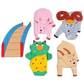 Constructive Playthings SVL-467 3 Billy Goats Gruff Story Telling Hand Puppet 5 Pc Set Grade  Kindergarten to 3 Age  9.95  Height 14.4  Wide 1.55  Length