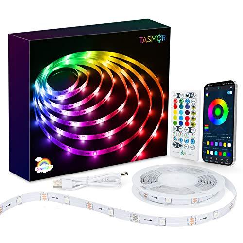 RGBIC USB LED Strip 5m, Tasmor Bluetooth LED Band 5m Steuerbar via App, Dreamcolor LED TV Hintergrundbeleuchtung Sync mit Musik, Dimmbar LED Streifen 5m mit 16 Millionen Farben LED Beleuchtung für TV