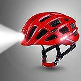 RAYTHEONER Casco de Bicicleta y Scooter, Casco de Bicicleta con luz de Seguridad y Frente de lámpara, Casco de Ciclismo de Seguridad Ligero y Transpirable para Hombres, Mujeres y niños (Rojo)