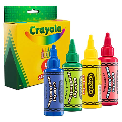 Crayola Hand Sanitizer for Kids | Antibacterial Hand Gel w/75% Alcohol for School Backpack | Kills 99.99% of Germs, Safe for Skin, Soft on Hands, Made in USA | Pack of 4 2oz Mini Travel Size Bottles