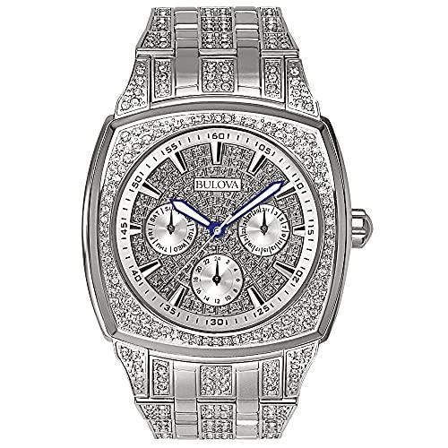Bulova Crystal Multi-Function Mens Watch, Stainless Steel ,...