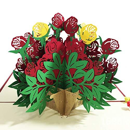 YSoutstripdu Regalo romántico del día de la Madre, Tarjeta de felicitación Pop-up 3D Creativa de Rose Flower Rose