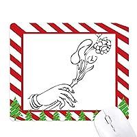 仏教の手のフラワーラインの描画パターン ゴムクリスマスキャンディマウスパッド