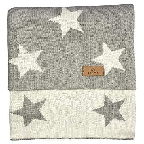 Babydecke Baumwolle Sterne grau - aus 100% GOTS BIO Baumwolle (kbA kontrolliert biologischer Anbau) Mädchen/Junge Strickdecke Baby Decke Baumwolldecke Strick Wolle Kinderwagen Kuscheldecke Jungs