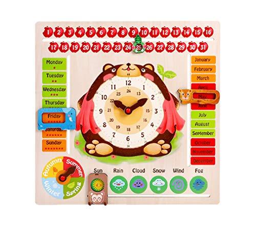 Yx-outdoor Tablero cognitivo de Reloj con Calendario Seis en uno Montessori para niños, Mejora el Conocimiento de los niños sobre el Tiempo y los números de Juguetes de Madera(17.7 * 17.7pulgadas)