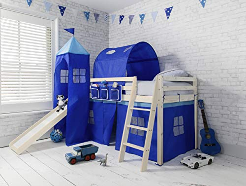 Noa and Nani - Midsleeper Cabin Bed with Slide and Blue Tent, Tunnel and Tower - (Whitewashed Pine)