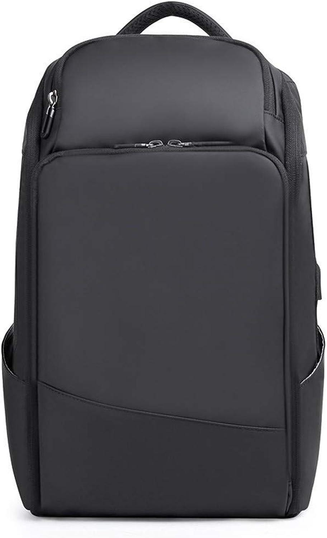 Men's Fashion Backpack New Men's Shoulder Bag Fashion Breathable USB Backpack (color   Black, Size   M)