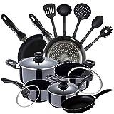 San Ignacio PK2351 Batería 8 piezas Porto, 5 Utensilios de cocina y Set 3 sartenes, diámetro 16/ 20/ 24 cm, negro, aluminio prensado, antiadherente, inducción