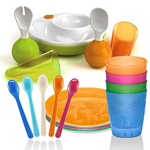 Lansinoh mOmma Set de Assiette Chauffante Cuillère et fourchette d'apprentissage sur pied-Fonction sur & Nip avec motif 4 assiettes Pack & Nip Gobelet 4 sans BPA