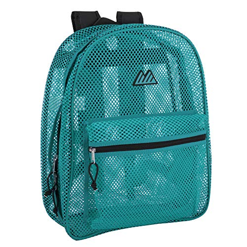 Mesh Backpacks for Kids, Adults, School, Beach, and Travel, Colorful Transparent Mesh Backpacks with Padded Straps (Aqua)