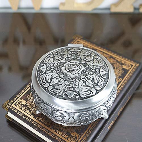 Cestbon Elegant Rose Gravur Damen Metalllegierung Rund Schmuckschatulle Schmuckkasten Schmuckkoffer Schmuckkästchen Schmuckbox,Silber