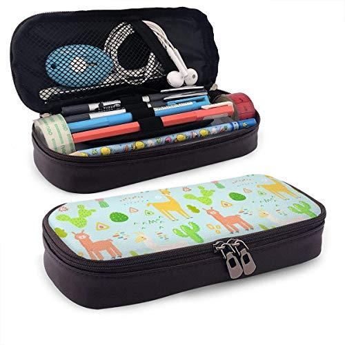 Astuccio Llama Hawaii Warm Kawaii Motivo a tema Stampato Mini School Portamatite Tasca per ufficio Scatola per penne Borsa con cerniera Set Pu Pelle Zip per accessori per ragazzo per ragazze