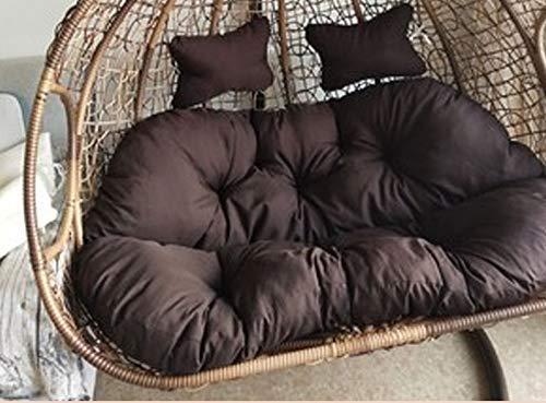 N /A Coussin de chaise d'extérieur pour balancelle 2 personnes Hamac Jardin Terrasse Rotin Orange Amovible Lavable