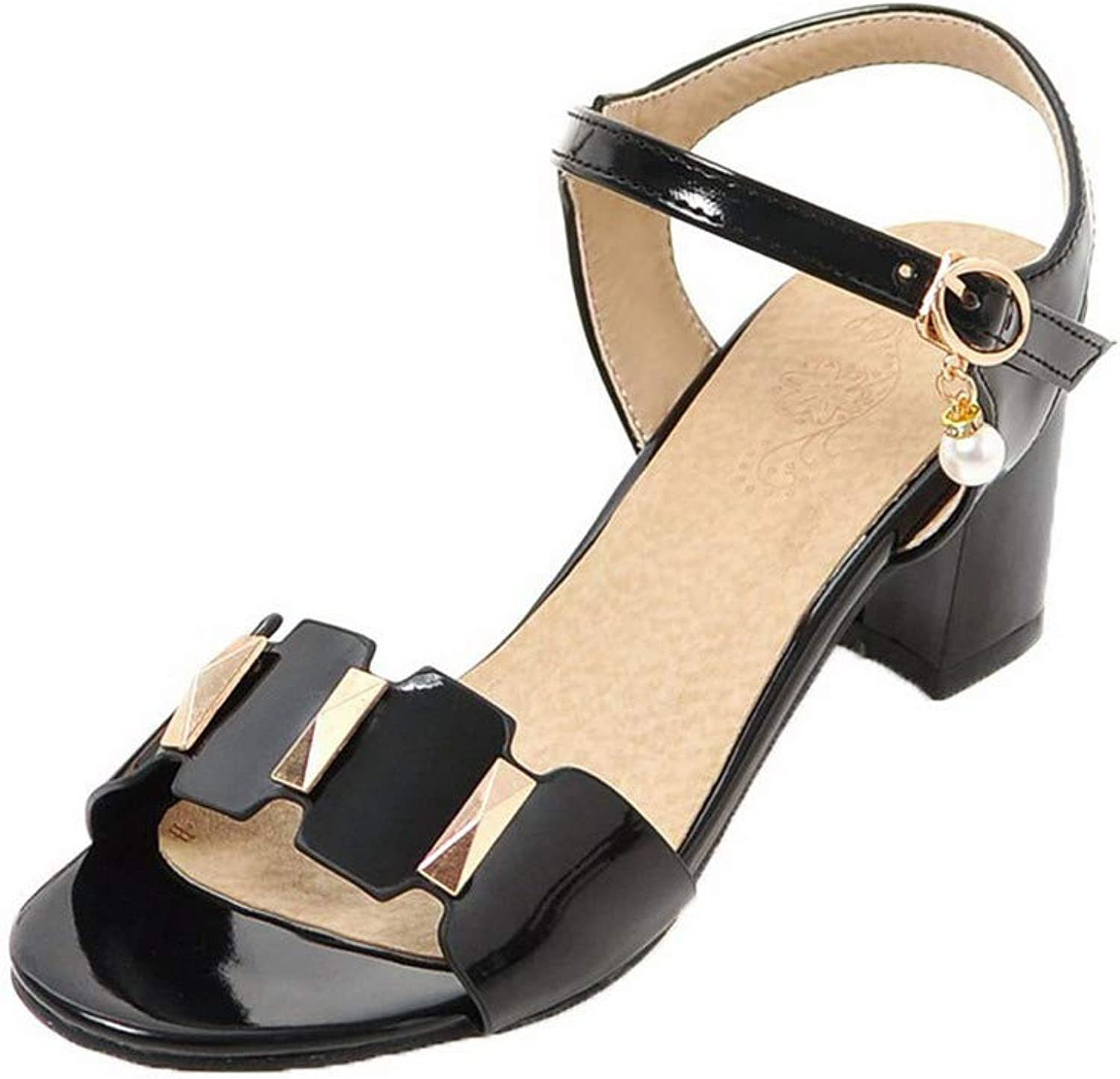 WeenFashion Women's Kitten-Heels Solid Buckle Patent Leather Open-Toe Sandals, AMGLX009979