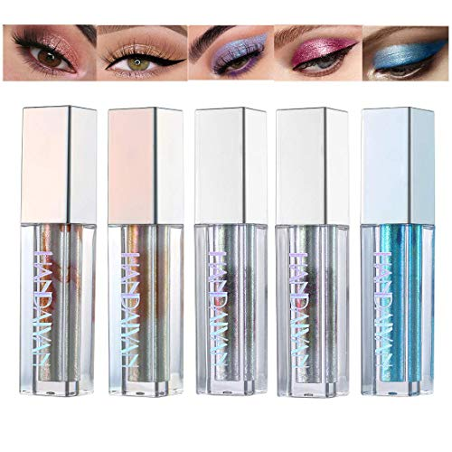 5 Farben Flüssig Glitzer Glänzend Lidschatten, BEEXY Langlebige Shiny Glitter Wasserdicht Schimmer und Glanz Lidschatten-Aufkleber Metallic-Pigmente (# B)