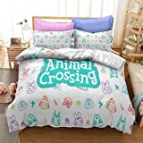 ZJJIAM Ropa de cama infantil en 3D, Animal Crossing: funda nórdica New Horizons 135 x 200/2 fundas de almohada, sábana bajera: cama individual (5,200 x 200 cm + 2 x 80 x 80 cm).