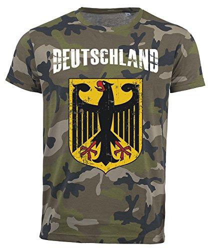 T-Shirt Deutschland Adler Camouflage Army WM 2018 .- Vintage Destroy Wappen D01 (M)