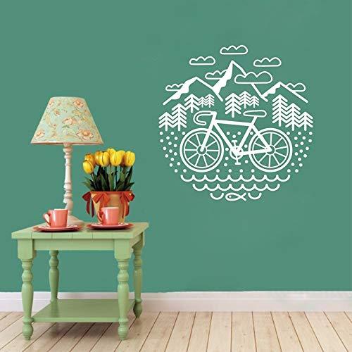 LSMYE Fahrrad und Berge Wandtattoo Radfahren Kies Fahrrad Vinyl Wandaufkleber Outdoor Radfahren Wanddekoration Weiß 56X56 cm