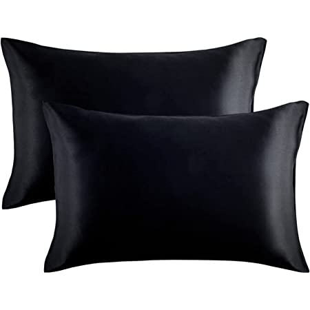 HONGCI 2 Pack Satin Pillowcase Set,Microfiber Plain Pillowcases for Hair and Skin, Soft Anti Wrinkle and Stain Resistant Envelope Closure Standard Pillow Cases (Black, 50x75cm)