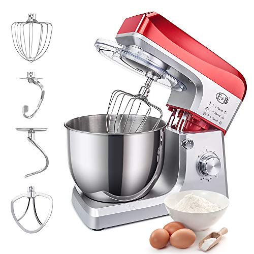 Stand Mixer, Cake Dough Stand Mixer Baking Electric Mixers Low Noise Food Mixing Machine 7L Bowl Kitchen Standing Mixer 6 Speed Setting 110V Home Bread Maker With Dough Hook Wire Whip Beater 7.4QT