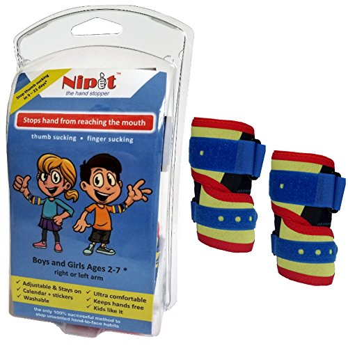 NIPIT (Age 2-7) Thumb Sucking STOP for Kids and Stop Finger Sucking - Prevent HAND-TO-FACE habits using NIPIT Hand Stopper – Thumb Guard for Toddlers and Kids | Thumb Sucking Glove