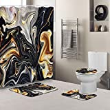 Marble Ink Texture Shower Curtain Sets with Non-Slip Rugs, Toilet Lid Cover and Bath Mat, Waterproof Mixed Black White Gold Yellow and Brown Abstract Shower Curtain with Standard Size 72 by 72 (Green)