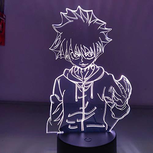 Anime dibujos animados Manga Hunter X Hunter Killua figura 3D acrílico LED luz de noche niños ventiladores dormitorio mesita de noche USB escritorio lámpara de mesa regalo para niños decoración d