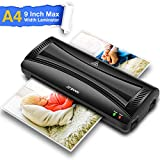 A4 Laminating Machine, 9 Inch Laminator Machine, Quick Warm Up, Hot and Cold Fast Laminating, Portable for Home Office School Use, Black