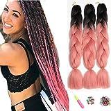 Showjarlly Jombo tressage Cheveux synthétiques 100 g/Psc 61 cm Long Kanekalon cheveux tressés pré étirés extension de cheveux 3 pcs/lot