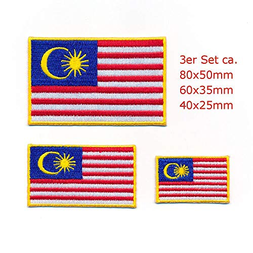 hegibaer 3 Malaysia Flaggen Kuala Lumpur Asien Flags Patches Aufnäher Aufbügler Set 1999