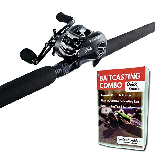Tailored Tackle Bass Fishing Rod and Reel Right Handed Baitcasting Combo 7 Ft 2-Piece | Casting Rods Power: Med. Heavy Fast Action | 7 BB Baitcast Reels Gear Ratio - 6.3:1 | Baitcaster Fishing Pole