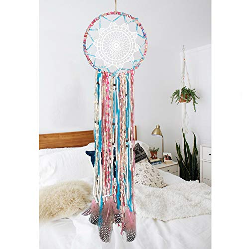 Alynsehom Dream Catchers Handmade Feather Colorful Native American Indian Dreamcatcher for Kids Bedroom Wall Hanging Decoration Decor Ornament Craft (Colorful)