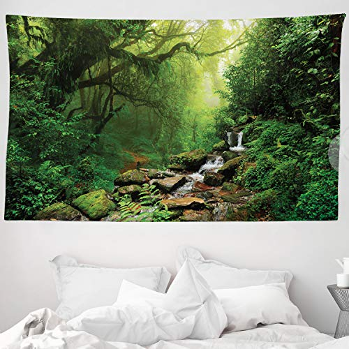 ABAKUHAUS Regenwald Wandteppich & Tagesdecke, Spring in Nepal Footpath, aus Weiches Mikrofaser Stoff Wand Dekoration Für Schlafzimmer, 230 x 140 cm, Grünbraun