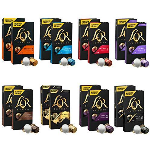 L'OR Coleccion de variedad de Cafe Espresso - Cápsulas de café de aluminio compatibles con Nespresso (R) - 16 paquetes de 10 cápsulas (160 bebidas)