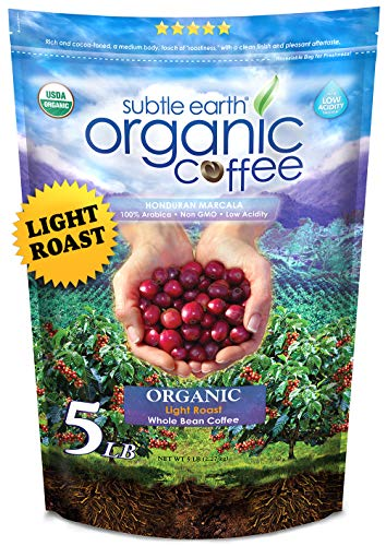 5LB Subtle Earth Organic Coffee - Light Roast - Whole Bean - Organic Arabica Coffee - (5 lb) Bag