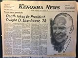Kenosha (Wisconsin) News (newspaper), Friday, March 28, 1969: Death Takes President Dwight D. Eisenhower, 78, Pope Paul VI, Sirhan Sirhan's brother, Mariner Mars mission, Nixon, draft, etc.