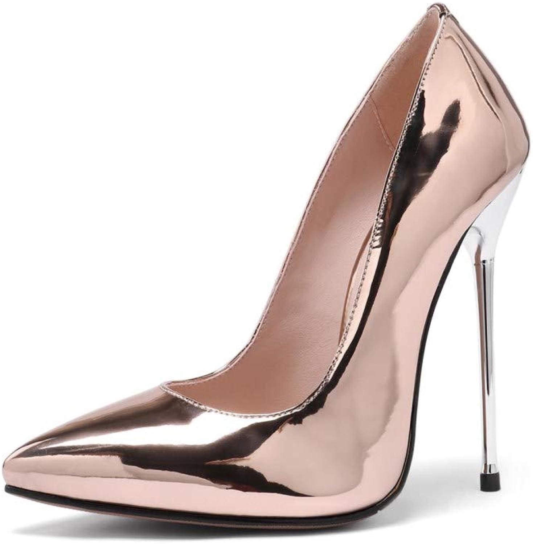 Nine Seven Women's Genuine Leather Slip On Pointed Closed Toe Handmade Super High Heel Dress Wedding Evening Pumps