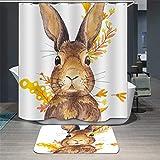ChickwinDuschvorhangWasserdichtBadezimmerDecor 3DTier Stil Anti-SchimmelShower Curtain Waschbar PolyesterBadezimmer Gardinenmit12Duschvorhangringe (Braunes Kaninchen,180x200cm)